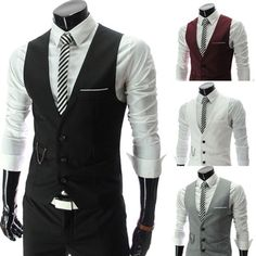 Top Design Luxury Men Fitted Suits Tuxedo Dress Vests Waistcoat 4 Color Hot Sale