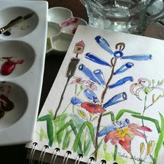 A quick watercolor journal of Faith's blue metal bottle tree. Entry done at a plein air paint out.