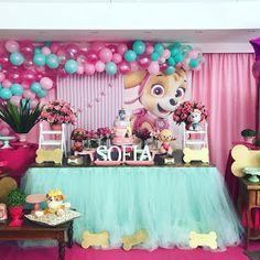 35 Best Ideas For Party Girl Birthday Meme Girl Paw Patrol Party, Sky Paw Patrol, Paw Patrol Birthday Girl, Paw Patrol Party Decorations, Birthday Decorations, Paw Patrol Balloons, Bday Girl, Puppy Party, Deco Table