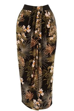 This midi length skirt is constructed from a lightweight woven fabric and features an elasticated waistband, front slit and all-over tropical print. Length of skirt: 82cm approx. Height of model shown: 6ft/183cm. Model wears: UK size 10.Fabric: Main: 100.0% Viscose.Wash care: Machine WashProduct code: 02452099 Price: £25.00 (was £35.00)