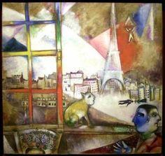 """""""Paris, vue de la fenêtre"""" (yellow cat at the window)   by Marc Chagall"""