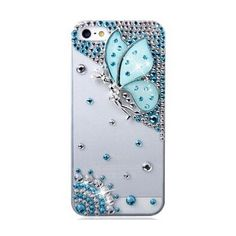 iPhone 6 Case, Hundromi(TM) 3D Bling CRISTAL Handmade Rhinestone Diamond Hard Shell Anti-Scratch White Back Case for iPhone 6 4.7 inch Screen - Crystal iPhone 6 Case(Blue butterfly) Hundromi