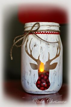 Stencilled-Reindeer-Jars christmas decorations diy crafts, xmas crafts to sell, diy Christmas Jars, Rustic Christmas, All Things Christmas, Christmas Holidays, Christmas Tables, Christmas Vacation, Homemade Christmas, Christmas Island, Beach Christmas