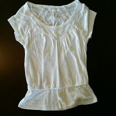 Aeropostale top Crew neck detailed top. Little flare with tie bottom Aeropostale Tops Tees - Short Sleeve