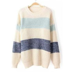 Casual Style Round Collar Long Sleeve Color Block Women's Sweater