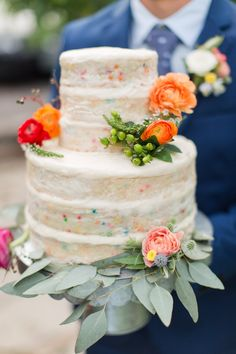 Delicious and fun naked confetti cake. View the full wedding here: http://thedailywedding.com/2016/06/25/chic-garden-soiree-wedding-kelsey-kevin/