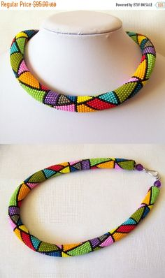 Colorful Bright Geometric necklace - Bead crochet rope necklace - Beadwork necklace - multi color necklace - modern necklace - art jewelry Bead crochet