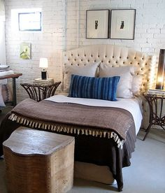 Classy blue + brown bedroom in warehouse environment bedroom, by xJavierx, via