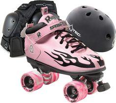 Derby Pink with Black Flame Roller Derby Skate Package