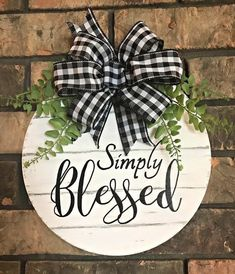 Awesome farmhouse decor diy are offered on our site. Wooden Door Hangers, Wooden Doors, Wooden Signs, Blessed Sign, Front Door Decor, Wall Signs, Door Signs, Porch Signs, Porch Decorating