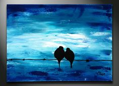 BLUE Art Painting - Original Painting, Wedding Gift, Blue Abstract Acrylic on canvas landscape painting, texture, impasto pallete knife. $99.00, via Etsy.