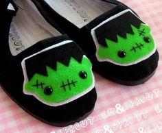 Frankenstein Shoes - Frankenstein's Monster Mary Janes - Adult Size 9. $25.00, via Etsy.