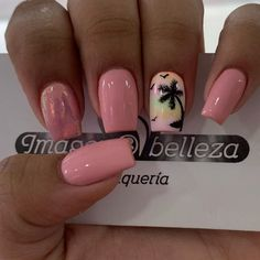 Summer Acrylic Nails, Cute Acrylic Nails, Cute Nails, Pretty Nails, Summer Nails, Wedding Day Nails, Gucci Nails, Palm Tree Nails, Florida Nails