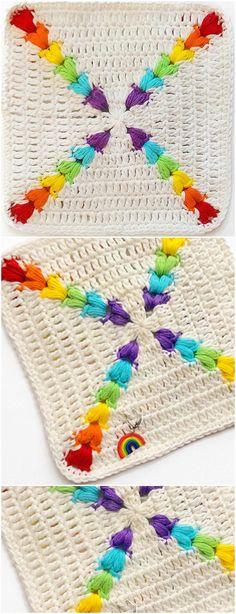 Crochet Rainbow Puff Square - Free Pattern #Crochet #puff #stitch #pattern