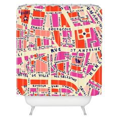 Paris Map Pink Shower Curtain DENY Designs,