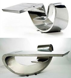 Max Ingrand Desk made from a single curved sheet of stainless steel.