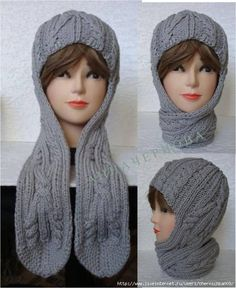 Knitted hat - a helmet with long ears with . - Kien - - Knitted hat - a helmet with long ears with . Crochet Hooded Scarf, Knit Cowl, Crochet Scarves, Filet Crochet, Knit Crochet, Crochet Hats, Crochet Hat For Women, Knitting Accessories, Knitted Gloves