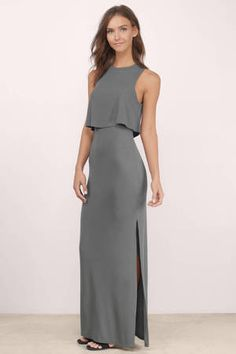 Grey Maxi Dress - Grey Dress - High Neck Dress - $68.00