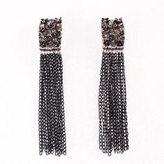 Black Punk Style Square Tassel Pendant Long Earrings Women Ladies Jewelry Earrings