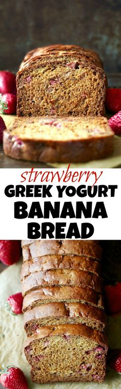 Strawberry Greek Yogurt Banana #Bread -- soft, tender, and loaded with strawberries and banana in each bite! You'd never be able to tell it's made without butter or oil! | runningwithspoons.com #recipe #healthy