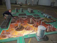 Amazing 3D street paintings by Dutch artist Leon Keer