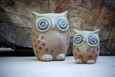 Ceramic owls home decor with red flowers handmade pottery