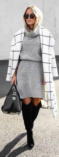 manteau et robe pull col roulé grise pour un look élégant et chic en ville