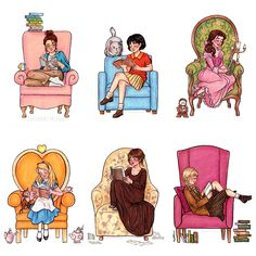 from left to right: Cath (from Fangirl), Shizuku (from Whispers of the Heart) Belle (from Beauty and the Beast), Alice (from Alice in Wonderland), Elizabeth Bennett (from Pride and Prejudice), and Liesel (from The Book Thief) susannedraws) prettybooks