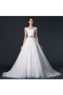 2015 Cap Straps A-Line Lace Wedding Dress Features Shining Beading
