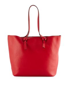 V37CD Neiman Marcus Knots Faux-Leather Tote Bag, Red/Black