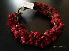#Floral #crown.#Black red #roses.#Manal Solaiman@wardyfloral