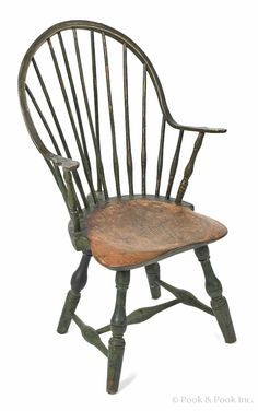 New England braceback continuous arm Windsor chair, late 18th c., retaining its original green painted surface. Provenance: James Sorber.