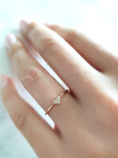 Heart Diamond Ring Heart Ring Gold Heart Ring Diamond Heart