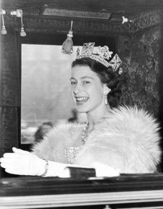 Queen Elizabeth II on the way to Westminster to preside at the first State Opening of Parliament ceremony since her accession to the throne. 04 November 1952