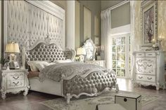 ACME Versailles California King Bed Vintage Gray PU & Bone White - 21144CK