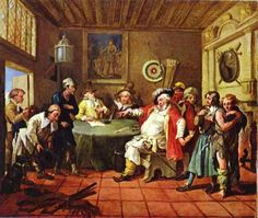 Mary Toft, apparently giving birth to rabbits, 1726 by William Hogarth. Rococo. allegorical painting