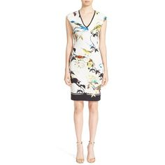 Roberto Cavalli Bird & Floral Print Jersey Dress ($770) ❤ liked on Polyvore featuring women's fashion, dresses, flower print dress, jersey dress, long white dress, v neck dress and white jersey dress