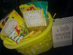 My bucket of sunshine. I had already made the 'box of sunshine' tag before I got my bucket, but I filled it with all yellow candy, a yellow gas gift card and a yellow Subway gift card. Made the tags that are attached and shredded yellow paper in a shredder for basket filler