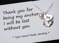 Heart initial,Anchor Necklace,Thank you card,Anchor with heart initial,Sailors Anchor,Bridesmaid gifts,daily Jewelry,strength,. $39.50, via Etsy.