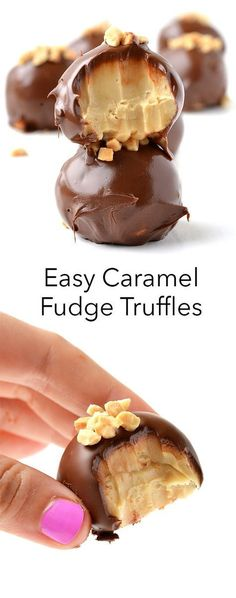 Salted Caramel Fudge Truffles, Desserts, The easiest, most delicious Caramel Fudge Truffles made in the microwave! These easy chocolate-covered truffles are the most amazing dessert. Dessert Oreo, Coconut Dessert, Bon Dessert, Brownie Desserts, Mini Desserts, Easy Desserts, Mexican Desserts, Holiday Desserts, Plated Desserts