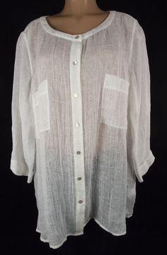 EILEEN FISHER Woman Top Plus Size 3X Long Sleeve White Semi Sheer Linen #EileenFisher #ButtonDownShirt #Casual
