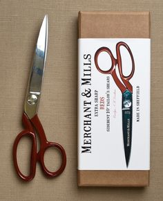 Reds Extra Sharp 10-inch Tailor Shears from Merchant & Mills: Merchant & Mills' Reds are the crème de la crème of tailoring scissors! Made in England's steel capital, Sheffield, these shears are forged from high carbon tool steel with a machined pivot screw, chrome plated blades and stunning red-enameled offset handles. They cut extra sharp with corrosion protection and one micro serrated blade and one traditional knife edged blade. These gorgeous Tailor Shears are truly a tool for life…