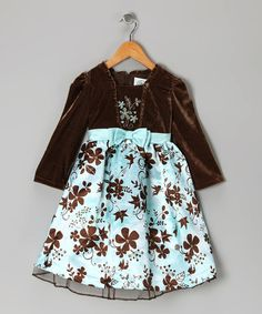 Take a look at this Aqua & Brown Satin Floral Dress - Girls by Disney on #zulily today!