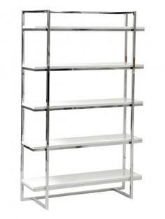 Ontario 5 Shelf Bookcase WHITE/CHROME