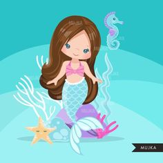 Mermaid nursery art girl nursery wall decor by GoughPrints Cute Mermaid, Mermaid Art, The Little Mermaid, Mermaid Nursery, Planner Stickers, Mermaid Clipart, Mermaid Drawings, Clip Art, Cute Backgrounds