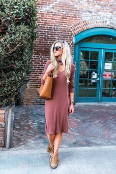 Fall sweater dress + neck bandana + cognac tote bag