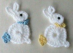 Crochet Bunny Rabbit applique #CrochetEaster