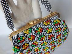 Black Plastic Multi-Color Bead Purse Handbag - c.1960's