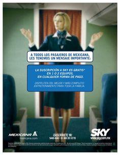 Anuncio de revista para pasajeros durante el vuelo con Mexicana. Freelance para Euro RSCG Beker. 2007 Dirección de arte: Carlos Ríos.