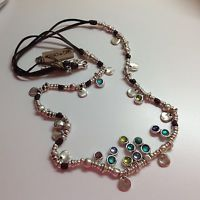 "NWT Uno de 50 Silvertone/Leather/Murano Glass Necklace  38"" ""Californication"""